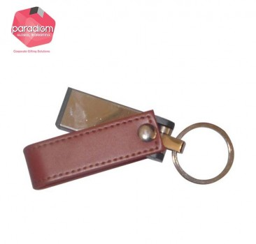 Sleek Leather Keychain/Lanyard USB Flash Drive