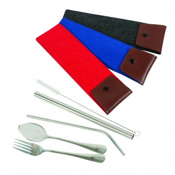 Stainless Steel Straw + Cutlery Set