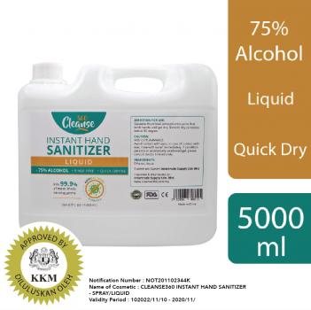 Cleanse 360 Instant Sanitizer (5000ml Liquid)